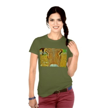 Curious Mules, Women's American Apparel Fine Jersey T-Shirt, Front, Model, Olive Green